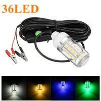 Wholesale Boat Underwater Lighting - 12V 36 LED Light Bulb Underwater Submersible Night Fishing Light Shad Bait Lure Squid Boat Lamp with 5m IP67 Waterproof Lamp