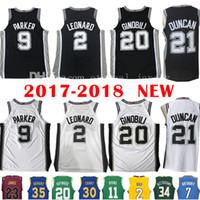 Wholesale Tony Short - 2017-18 New 2 Kawhi Leonard 21 Tim Duncan Jersey Men's 2018 9 Tony Parker 20 Manu Ginobili Jerseys Embroidery and 100% Stitched Cheap