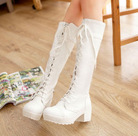 Wholesale Large Size Chunky Heel - Female Boots Autumn Winter Lace-up Shoes White Black Knee-high Martin Shoes Boots Tide Women Long Boots Large Size 34-43