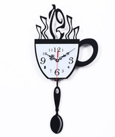 Wholesale Coffee Cup Clocks - Wholesale-Free shipping coffee cup wall clock time personalized creative fashion watches sway bar restaurant kitchen living room decoratio