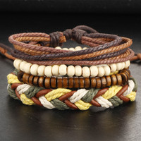 Wholesale Boho Vintage Bracelet - Wholesale-1Set Multilayer Leather Bracelet Men Jewelry Boho Rock Wood Bead Bracelets For Women Love Vintage Bracelets & Bangles Gift