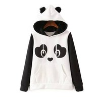 Wholesale Pullover Hoodies Panda - Hoodies for women New Fashion hoodie cute panda hooded hoodie black and white hoodie active wear