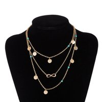 Wholesale Gold Plate Chain Necklace Discount - Discount Multi Layers Bohemia Style Alloy Blue Beads Pendant necklaces Charm Bib Collar New Fashion Popular Jewelry Free Shipping