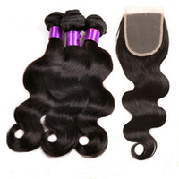 Wholesale Wholesale Chinese Wavy Hair - Wholesale 3 Bundles Brazilian Hair Weft Body Wave With Closure 8A Human Hair Bundles Weave Wavy Hair Extensions With 4*4 Closure