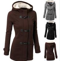 siyah boynuz düğmeleri toptan satış-Toptan-Kış Ceket Kadınlar Kapşonlu Coat Siyah Uzun Kollu Moda Sonbahar Sıcak Pamuk Kadınlar Parka Korna Düğmesi Mont Artı Boyutu 2XL