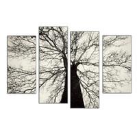 berühmte moderne kunst gemälde großhandel-Berühmte Moderne Gemälde Schwarz und Weiß Winter Baum Ölgemälde Spray Schmerzen Art Home Wand Dekoration