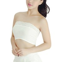 Wholesale Lace Tube Top Bra - Wholesale-Summer Strapless Lace Tube Top Women's Sexy Bra Casual Bandeau Short Tanks Seamless Black White Underwear Cropped Sports Bra