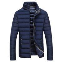 Wholesale Wadded White Jacket Men - Fall-2016 casual winter jacket men down cotton jacket two side wear stand collar thin wadded coat warm outdoor overcoat parka WLF116