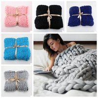 Wholesale Used Sofas - 11 Colors 60*60cm Photo Taking Props Thick Line Knitted Blanket Blending Anti-Pilling Super Soft Used in Bed Sofa Plane CCA7371 30pcs