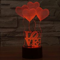 Wholesale heart shaped led - 3D Valentine's Day heart-shaped balloon LOVE Bulbing Romantic Night Light Lamp Colorful Acrylic home bedroom lamp