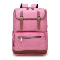 Wholesale School Girl Korea - Vintage Fashion Women Backpack Bag High School Flap Boys Girls Schoolbag KOREA Shoulder Bag Pink Wholesale free shipping