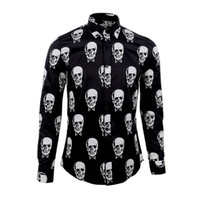 Wholesale Shirt Mens Cotton Polyester - Luxury Men Shirt Brand Skull Printed Chemise Homme Long Sleeve Cotton Slim Shirt Men Turn Down Collar Casual Mens Dress Shirt