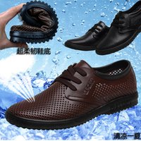 Wholesale cool careers - 2016 groom dress shoes Cool men's shoes Hollow out breathable leather sandals men's shoes casual shoes