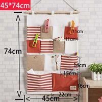 Wholesale Wholesale Cotton Fabric Manufacturers - Manufacturer of cotton fabric 13 pocket stripe mosaic hanging storage bag hanging wall storage bag