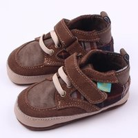 Wholesale Cool Toddler Shoes Boys - Hot Wholesales Cool Genuine Leather Lace-up Hook & Loop Strap Plaid Casual Shoes First Walker toddler baby Boy Shoes Brown Color