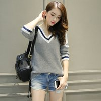 Wholesale Sweater Woman V Neck Striped - Wholesale- Fashion Autumn Women Sweaters And Pullovers 2017 New Striped V-neck Pull Femme Cashmere Winter Knitted Sweater Womens Jumpers