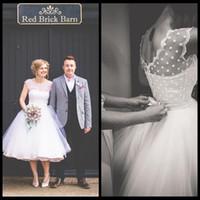 Wholesale Tea Length Polka Dot Dress - Vintage 1950s Style Polka Dotted Short Wedding Dress Tea Length Little White Dresses 2016 Vestidos de Novia Beach Bridal Dress