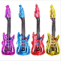 Wholesale Red Guitar Toys - Eco-friendly pvc material Outdoor beach kids inftable toy guitar inflatable pool toy guitar with inner noise sizes 85x30cm free shipping