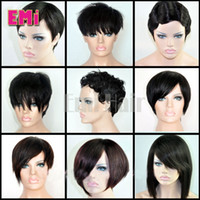 Wholesale Short Bobbed Hairstyles - Brazilian human hair Bob wig straight body curly Pixie Cut cheap wigs short human hair wigs full density front bob lace wigs for black women