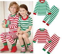 Wholesale Cheap Pajamas Girls - Cheap baby Christmas tracksuit 2016 children striped cotton suit new boys and girls autumn & winter pajamas in stock 6set