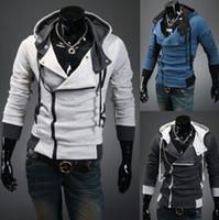 suikastçilerin inançlı hoodie renkleri toptan satış-2016 Yeni Şık Mens Assassins Creed 3 Desmond Miles Kostüm Hoodie Cosplay Ceket Ceket 5 renkler 6 boyutu