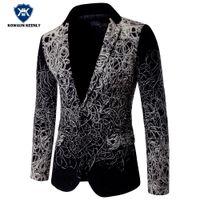Wholesale Cheap Men S Blazer Jackets - Wholesale- Fashion Blazer 2017 Slim Fit Luxury Blazer Men Suit Jacket Party Floral Blazer Casual Stage Wear Cheap Wedding Dress 5XL