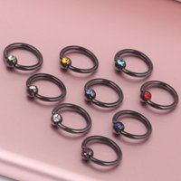 Nose Rings & Studs black captive bead ring - Black CBR Steel Captive Ball Bead Hoop Cartilage Septum Ring Piercing with color body jewelry piercing nose