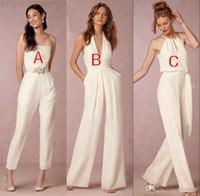 sırtsız pantolon kıyafeti toptan satış-2018 için Zarif Tulum Gelinlik Modelleri Düğün Kılıf Backless Düğün Konuk Törenlerinde Artı Boyutu Pantolon Takım Plaj