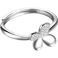 Wholesale Simple Rings For Girls - Sterling 925 Silver Rings female flower Butterfly rings Simple designer Four Leaf Clover ring for girls gift Couple rings