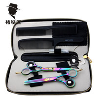 Wholesale Stainless Steel Professional Hair Comb - Smith Chu 5.5 inch Professional Hair Scissors set ,Straight & Thinning barber shears,with razor, comb, case
