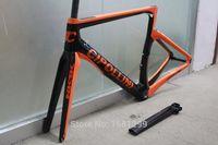 mat karbon çatalı toptan satış-Yeni 6 renkler NK1K 700C Yol bisiklet mat 3 K tam karbon fiber bisiklet çerçeve karbon çatal + seatpost + kelepçe + kulaklık parçaları Ücretsiz gemi