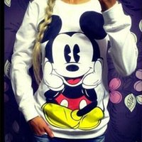 Wholesale Women S Sweatshirts Wholesale - Wholesale- 2016 New Spring Autumn Women Girl minnie Mouse Print Suit cotton Women Cartoon Sweatshirt Hoodies Pullovers Tracksuit S-XL