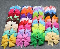 bebek kız saç pin klipleri toptan satış-Sıcak satış! 100 adet 8 * 8 cm Saç Yaylar Saç Pin Çocuklar Kızlar için Çocuk Saç Aksesuarları Bebek Hairbows Kız Saç Yaylar Klipler ile Çiçek Saç Klip