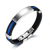 Wholesale Mixed Metal Jewerly - Unisex Silicone Mix Metal Titanium Steel Bracelet Fashion Sport Jewerly 5 Colors