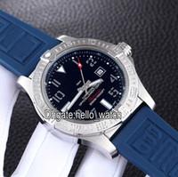 vingador preto venda por atacado-New Avenger II Seawolf A1733110 Mostrador Preto Automático Mens Watch Prata Caso Pulseira de Borracha Azul Gents Relógios Relógios De Pulso Baratos