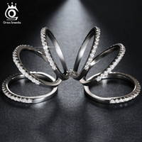 Wholesale New Arrivals Rings - New Arrival 6 Pieces Wedding Band Connected Luxury Party Rings with 138 pieces Clear CZ Jewelry Ring Wholesale OR86