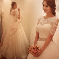 Wholesale Lace Belt Applique - 2016 Delicate Lace Applique Illusion Wedding Dresses with 1 2 Sleeve Jacket Vintage Crystal Belt Ivory Tulle Corset Bridal Gowns