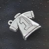 Wholesale Pandora Football Charm - Free shipping 2016 HOT Fashion 35pcs No.1 Football clothes Charms Antique Silver Alloy Jewelry DIY For Pandora Bracelet Pendant Necklace 25*