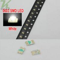 led diyot beyaz smd toptan satış-4000 ADET / makara SMD 0603 Beyaz LED Lamba Diyotlar Ultra Parlak 0603 SMD Yeşil LED Ücretsiz kargo