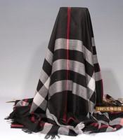 Wholesale Chiffon Shawl Black - B Brand Check Cashmere cotton scarves & wraps silk wool shawls square Design Fashion Pashmina With tag lable 140*140cm
