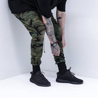 Wholesale Hip Hop Camo Clothing - Wholesale-KANYE west high quality mens bottom pants camo camouflage hip hop trousers swag sweatpants brand clothing