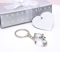 Barato Botas De Sapatos De Casamento-Crystal Collection Baby Shoe Keychain Chaveiro Bootie Key Ring Batizado Presentes de casamento Baby Shower Favors ZA4410