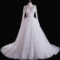 Wholesale Long Crystal Sequin Trains - Sexy Wedding Dresses New 2017 Simple White Applique Lace Beads Crystal Sequins Tulle Scoop Poet Long Sleeve Backless Zipper Court Train