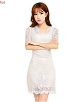 короткое установленное белое кружевное платье оптовых-2016 лето кружева Dress Hot с коротким рукавом карандаш Dress женщины элегантный OL мини Dress установлены черный белый сексуальный клуб Bodycon Dress V-образным вырезом SV016340