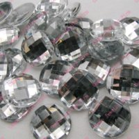 Wholesale Superior Acrylic Flat Back Rhinestones - Earth Faceted Round Circle Shape 25mm 100PCS LOT Superior Taiwan clear Acrylic Flat Back Rhinestones Acrylic Rhinestone M64568