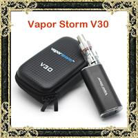 Wholesale E Cigarettes Storm - Authentic Vapor Storm V30 E Cigarettes VApe Mod Kits 7-30W 2.5V-8.5V EC Glass Tank Atomizer Box Zipper Case Kit Pure Taste