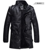 Wholesale Long Fur Collar Coat - Fashion Men PU Leather Jackets Black Men Fur Lining Jackets Fit Winter Male Casual Coats Plus Size M-3XL