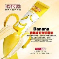 Wholesale Kiss Hot Sex - Wholesale-30ML Sex lubricating oil goods Hot Kiss Banana Flavor body lubricating oil male female of edible anal sex lubricant