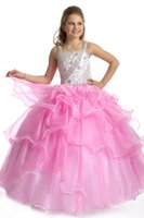 Wholesale Heavy Gowns - 2016 New Spaghetti Straps Heavy Beaded Bodice With Organza Ruffled Ball Gown Girl's Pageant Dresses Birthday Wedding Kids Flower Dresses