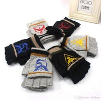 Wholesale Autumn Winter Poke Go Knitted Fingerless Gloves Warm Semi Finger Flip Wool Gloves Fashion Anime Cartoon Warm Ski Gloves Christmas Gift